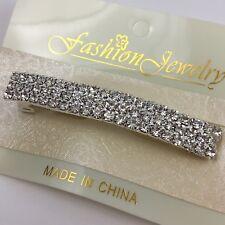 Clear Crystal Rhinestone Hair Barrette Clip Bar Three Rows Elegant Prom Formal