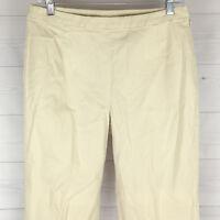 J. Jill Womens Size 8 STRETCH Solid Beige Side Zip Flat Tapered High Capri Pants