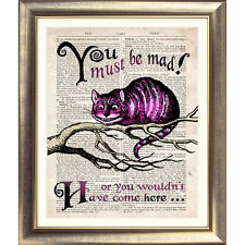 ART PRINT ORIGINAL DESIGN Alice in Wonderland Book Page Cheshire Cat Poster Wall
