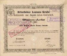 Bitterfelder Louisen Grube Kohlenwerk u. Ziegelei  200 Thaler 1873 Gründeraktie