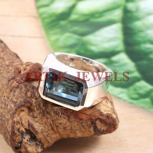 Natural London Blue Topaz Gemstone with 925 Sterling Silver Ring for Men's #2689