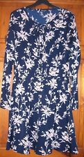Navy blue & nude floral dress size 14 long sleeves button front
