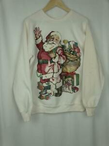 Ugly Christmas Hand Painted Double Sided Santa Vintage Sweatshirt Adult Size XL