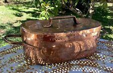 Ancienne daubière cuivre,faitout poissonnière,chiffrée,queue d'aronde,XVIII XIXE