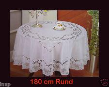 180 cm Ø Rund Weiß TISCHDECKE RUND SCHUTZDECKE BALKON GARTEN Blumenmotiv Vinyl