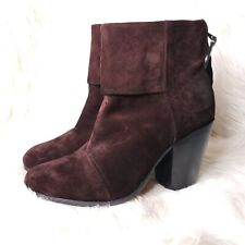 Rag & Bone Newbury Brown Suede Leather Ankle Boots Booties Womens Size 39.5 9.5