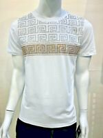New Mens Short Sleeve Very Slim Fit T-Shirt White Gold Silver Rhinestones Cotton