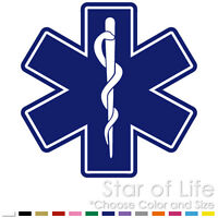EMS EMT MEDIC DOCTOR NURSE STAR OF LIFE EMERGENCY VINYL DECAL STICKER (E-02)
