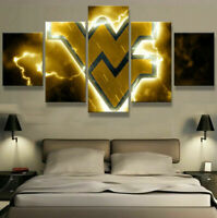 West Virginia Mountaineers 5 pcs Painting Printed Canvas Wall Art Home Decor
