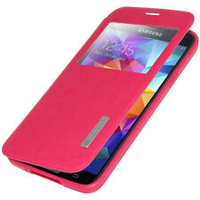 FLIP CASE STAND COVER WITH SWIPE WINDOW FOR SAMSUNG GALAXY S5 SM-G900A -HOT PINK
