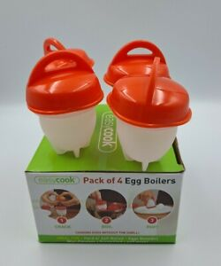 4 Egg Boilers Cups Hard Soft Boiled Cooker Poacher No Mess