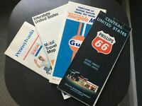 1960 Phillips 66 Road Map & Other Road Maps Vintage (Lot of 4 Maps)