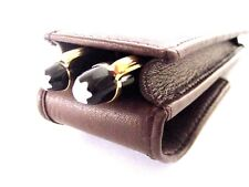 Brown Leather Double/Twin Magnetic Flap  Pen Case/Pouch/Sleeve