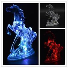 Colorful night light emitting acrylic led lights flash crystal horse children V