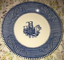 Vintage Currier and Ives Blue & White Steamboat Saucer