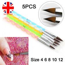 Acrylic Brush Nail Painting Art UV Gel Polish Cuticle Pusher Size 4 6 8 10 12 UK