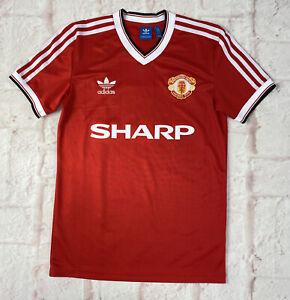 Manchester United Football Shirt Adidas Retro 1980's Reproduction Mens Small