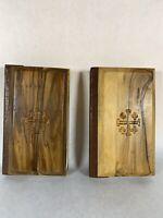 Two Vintage Bible Miniature New Testament Olive Wood Covers Jerusalem KJV