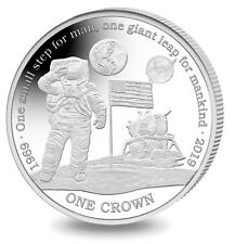 2019 NASA 50th Anniversary 1st Man on Moon Silver Proof Crown Coin Ascension Is