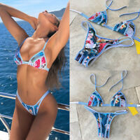 Women Summer Floral Swimwear Bikini Set Push-up Padded Bra Bathing Suit Swimsuit