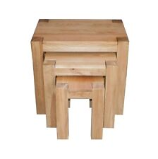 Kuba Chunky Solid Oak Wood Nest of 3 Tables Living Room Side End Table Furniture