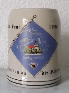 älterer Bierkrug Krug Humpen Kratofil Fahnenweihe 1990 Feuerwehr Großgarnstadt