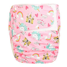 Large Adult Cloth Diaper Reusable Incontinence Unicorn Age Role Play Hook Loop