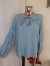 M&s Indigo Blue Denim Long Sleeve Folk Boho Loose Fit Blouse Top Size 14