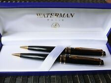Waterman Paris pen and pencil set in box, Black with Gold accents