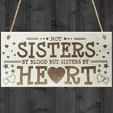 Sisters By Heart Shabby Chic Wooden Hanging Plaque Best Friends Gift Friend Sign