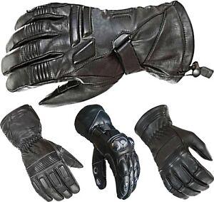 Mens Motorbike Motorcycle Thermal Biker Leather Gloves Waterproof Protection