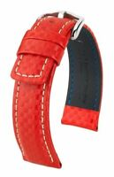 Hirsch Carbon 100 m water-resistant 22 mm red watch strap, L