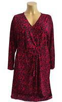 Neuf Grandes Chic Femme Jersey Robe en Croisé Noir Rouge Taille 56, 58