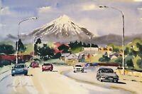 "ORIGINAL watercolour PAINTING Taranaki mountain YouTube 20"" x13"" Marilyn Allis"