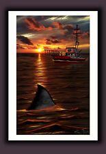 "Signed Jaws Movie Print ""Orca Twilight"" Great White Shark Sunset Art"