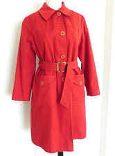 Vtg Trench Coat Red Tone Size M/L Removable Liner Belted Faux Fur Lined