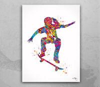 Skateboarder Girl Watercolor Print Skateboard Street Sport Art Wall Art-1692