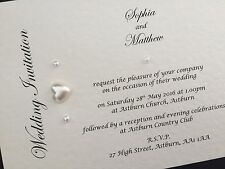 10 x Personalised Handmade Day / Evening Wedding Cards Invitations Pearls Hearts