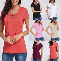UK Womens Casual T-shirts Ladies Short Sleeve V Neck Plain Tops Blouse Plus Size