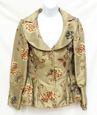 SAMUEL DONG Womens Gold Asian Floral Embroidered Fitted Pleated Jacket Coat S
