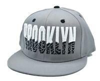 Gray Brooklyn NYC Cursive Embroidered Baseball Hat Cap Strap Back New York