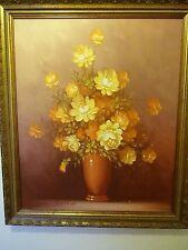 ROBERT COX (1934-2001)  original floral painting roses 23 x 27 Rare Vintage