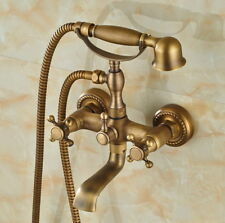 Antique Brass Telephone Style Bath tub Faucet Mixer Tap W/ Hand Shower Ktf024