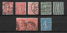 "France - 1903 -1924,  ""Sower""  - ""Lines in background""  Stamps x 8, Used"