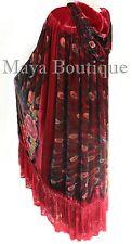 Opera Cape Cloak TRUE RED Beaded Velvet Lace Peacock Victorian Maya Matazaro