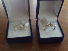 Swarovski & Silver/Gold Rings x 2 (Pair) Size Q NEW/Unworn/BNWT/Boxed (Ref:m-i)