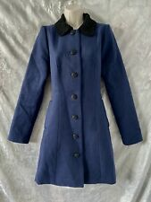 """Stylish  """"REVIEW""""  Dark Blue Black Embroidered Collar Coat Size 12"""