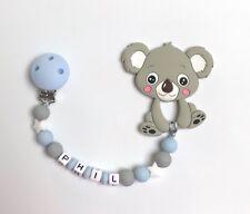 Schnullerkette Schnullerband Nuckelkette Beißkette Beißring mit Namen grau blau