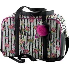 Luv Betsey Johnson Quilted Rose Floral Stripe Weekender Travel Large Duffel Bag