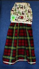 **NEW** Handmade Winter Holiday Plaid Reindeer Hanging Kitchen Hand Towel #1688